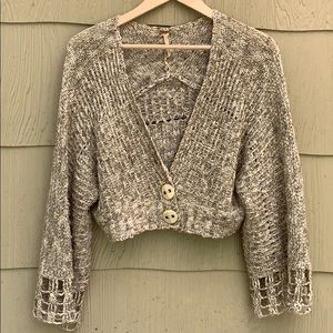 Free People | Oatmeal Cropped Cardigan Sweater | M